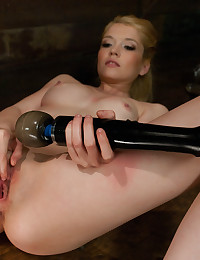 Skinny blonde dildo machine sex