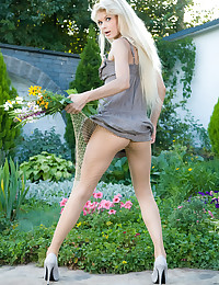 Lolly Hardcore - Horny freshie shows she's got no panties under her fishnet pantyhose