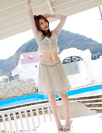 Asian in sheer white top