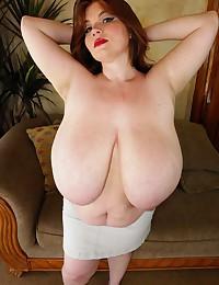 Redhead with gigantic BBW boobs