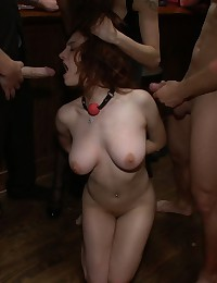 Naked girl sucking cock in bar