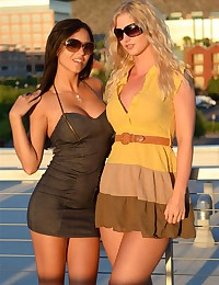 Sunset is a perfect time for Natalie Nice and Janessa Brazil to pose