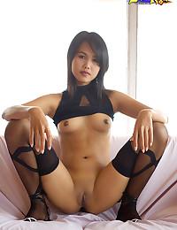 Lily On A Black Sexy Attire