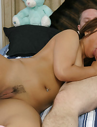 Mocha Asian With Pigtails Drilled Deep