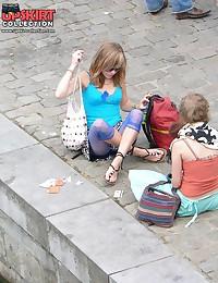 Upskirting - blonde teenie in blue leggings