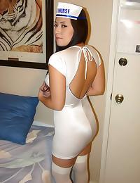 Nurse in skintight dress