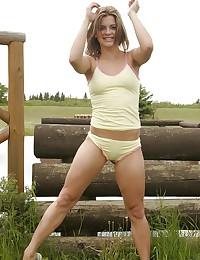 Sara Sexton - Platinum blonde honey posing by the lake side