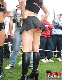 Hotties in mini skirts. Panties up skirt gallery