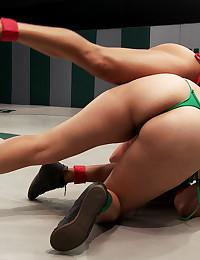 Busty wrestling women in bikinis