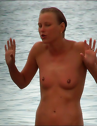 Naked shaved girl at beach