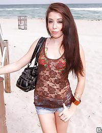 Petite Allison Strips At The Beach