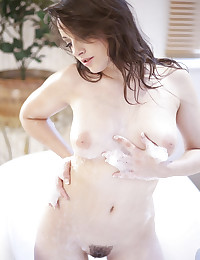 Beautiful hairy pussy girl in bathtub