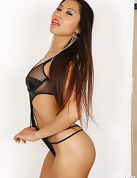 Asian is sexy in black lingerie