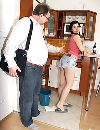 Horny senior enjoying his au pairs teen pussy
