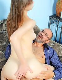 Old guy with big cock fucks