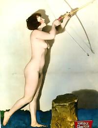 Vintage color tints naked chicks showing body