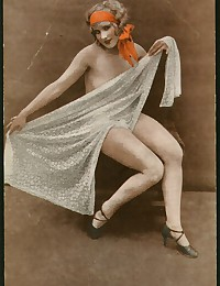 Vintage color tints naked chicks showing body