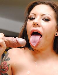Tattooed slut loves big cock