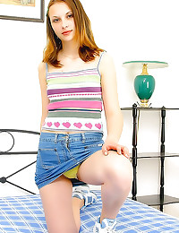 Cute girl in yellow panties