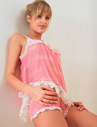 Sasha Blonde - Teen babe posing topless takes her panties off too