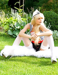 Sailor girl in white stocking...