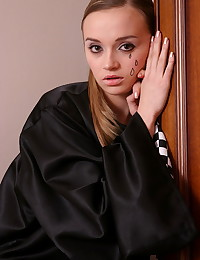 Kristina Fey - Tiny teen hottie in mime's costume gets stripped nice and slow