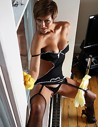 Cleaning house in lingerie