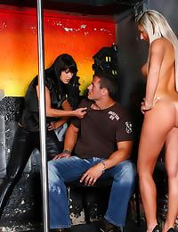 Hot ladies strapon bang him