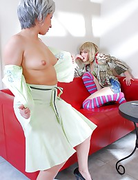 Young blonde and granny fucking