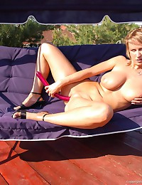 Amazing Rachela went outside, took her dildo and gave to her neighbor the hottest show ever!