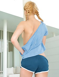 Sasha Blonde - The young babe in braided pigtails goes nude