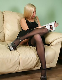 Skinny teen in sexy black nylons