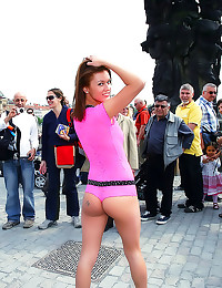 Girl in lingerie in public