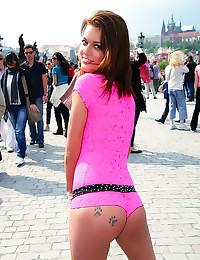 Girl in lingerie in public