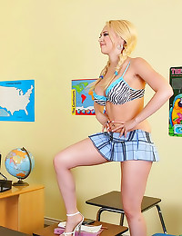 Bimbo student with pigtails n...