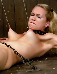 Blonde tied to the floor