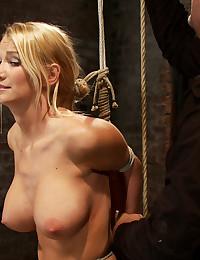Busty bound blonde babe
