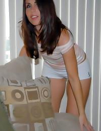 Skinny milf in boyshort panties