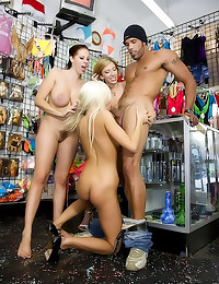 Group sex in adult store