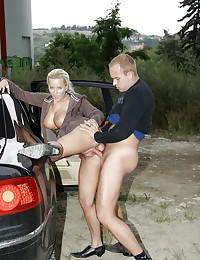 Public couple shagging in the car hardcore