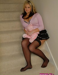 Dream of Ashley - Angelic face, tight stockings and huge natural boobs - meet Ashley!