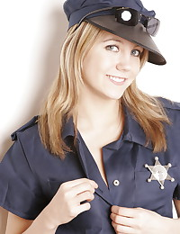 Andi Pink - Busty blonde teen in slutty police uniform