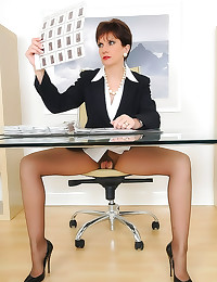 Upskirt and pantyhose at her ...