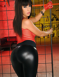 Pornstar in leather pants