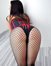 Corset and fishnets for brunette