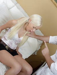 After the hymen was gone Anna enjoyed two dicks in her mouth and ass. Horny studs covered her face with hot cum.