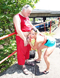 Running senior guy shagging a much younger chick
