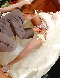 Beautiful bride has lesbian s...