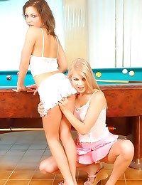 Pool playing girls love anal toys