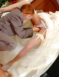 Beautiful bride has lesbian s...